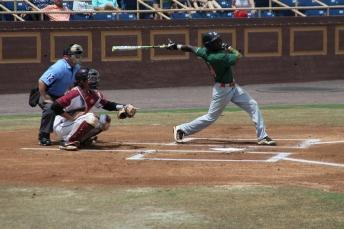 Outfielder McDaniel swings.