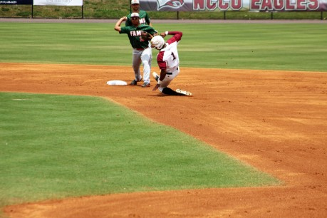 Carter Williams slides before FAMU throw to first.
