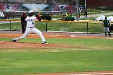 NCCU pitcher Devin Sweet grips to deliver throw.