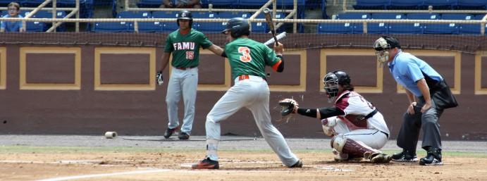 FAMU infielder Bret Maxwell readies swing.